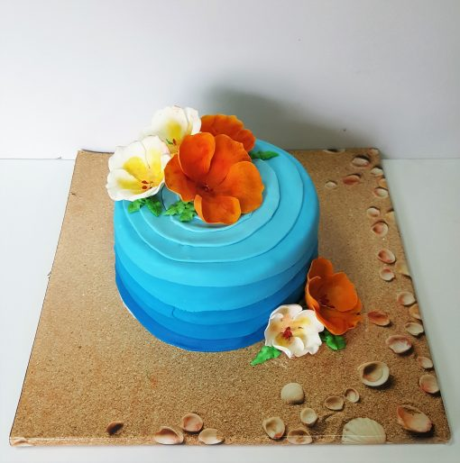 hawaiian flower cake